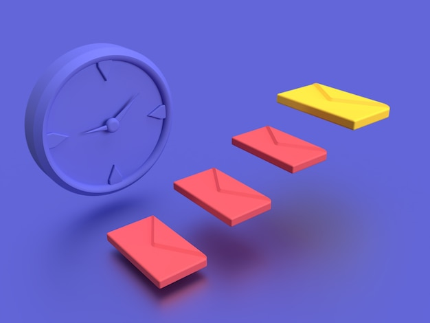 3d email marketing schedule with blue background
