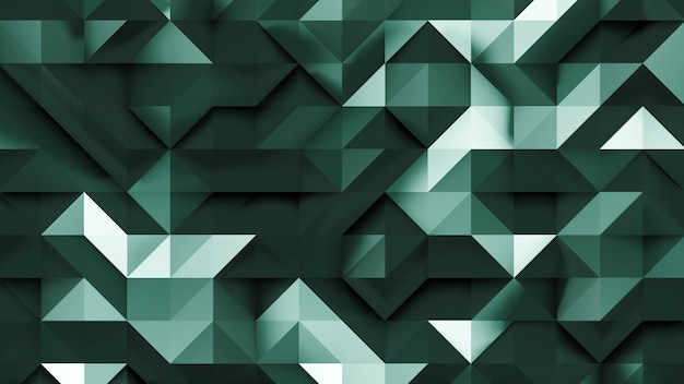 3d emerald triangle abstract background in 2d perspective