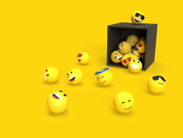 3d emoji with black box on the floor social media concept with yellow background color rendered
