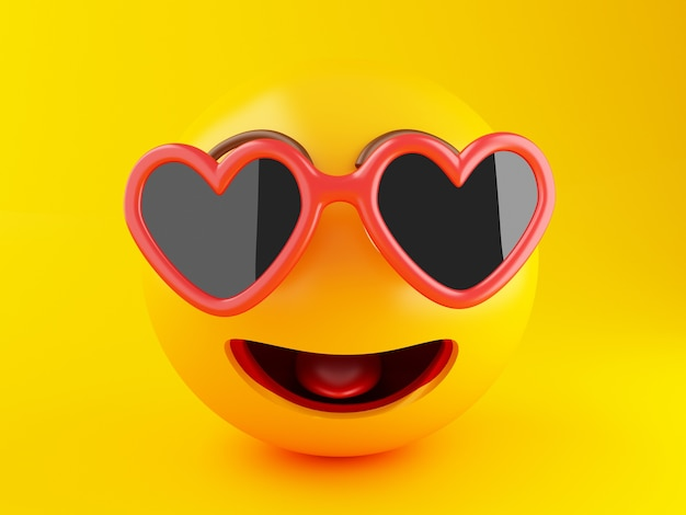 3d emoji with sunglasses. summer vacation concept.
