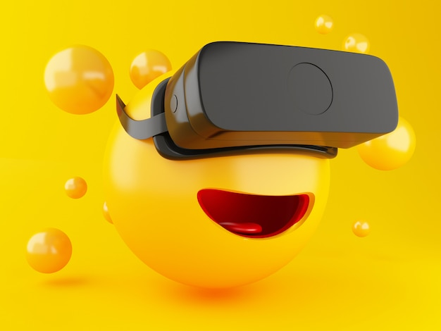 3d emoji with vr headset.