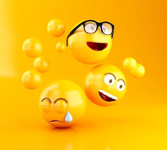 3d Emojis icons with facial expressions.