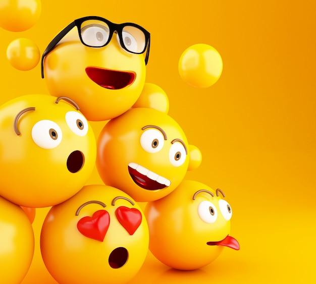 表情を持つ3d emojisアイコン。