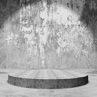 3d empty display podium in grunge concrete room