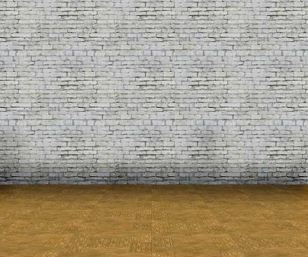 3d empty interior with brick wall and wooden floor