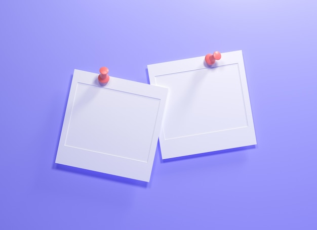 3d empty note papers hang on purple wall for text or photos replacement. 3d render illustration