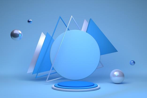 モダンなステージディスプレイとミニマリストの抽象的なショーケースの背景コンセプト3dイラストまたは3dレンダリングのための三角形の球と青い構成の幾何学的な形の3d空の表彰台