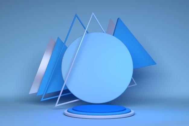 モダンなステージディスプレイとミニマリストの抽象的なショーケースの背景コンセプト3dイラストまたは3dレンダリングのための三角形の球とブルーシルバー構成の幾何学的形状の3d空の表彰台