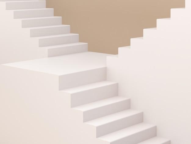 3d пустая сцена с лестницей и пастельным кремом минимальный фон, чтобы показать продукт