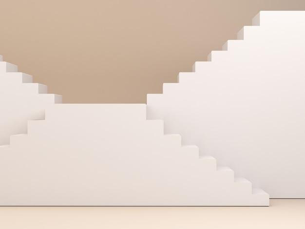 製品を表示するための階段とパステルクリームの最小限の背景を持つ3d空のシーン