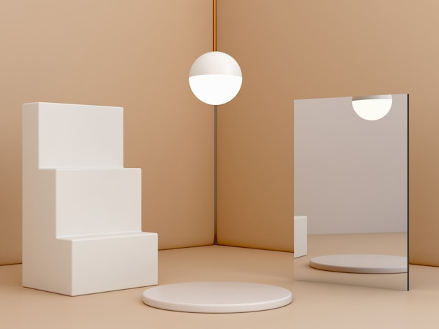 제품을 표시하는 파스텔 크림 최소한의 배경에 계단과 연단 3d 빈 장면