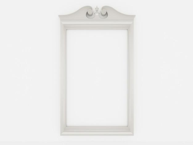 흰 벽에 3d 빈 빈티지 프레임