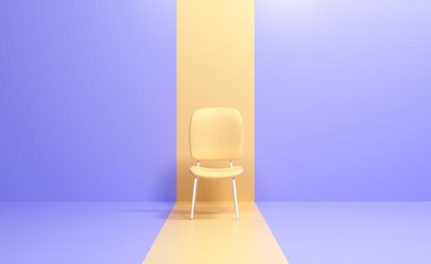 3d пустой желтый стул. наем новой концепции вакансии. 3d визуализация иллюстрации