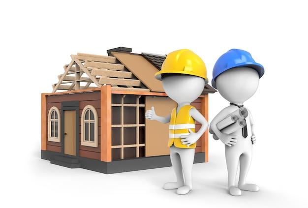 建設中の家に立つ 3d エンジニアと建築家