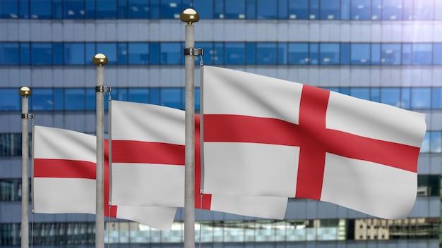 3d、イギリスの旗が現代の超高層ビルの街と風に揺れています。英語のバナーを吹く、柔らかく滑らかなシルク。布生地のテクスチャは、背景をエンサインします。建国記念日や国の行事のコンセプトに使用してください