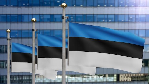 3d, эстонский флаг развевается на ветру с современным городом-небоскребом. эстония знамя развевается мягким шелком. предпосылка прапорщика текстуры ткани ткани. используйте его для концепции национального дня и страны.