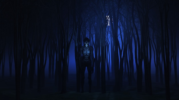 3d evil creature in the woods at night