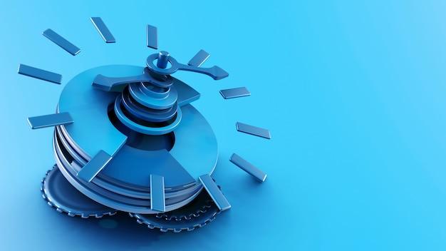 파란색 시계의 3d 분해 모델