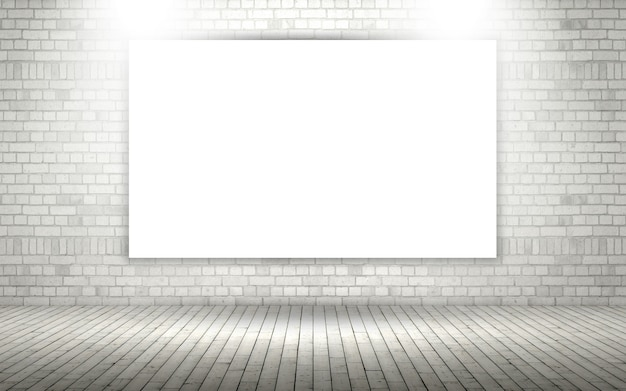3d exposed brick wall with blank canvas or photo frame