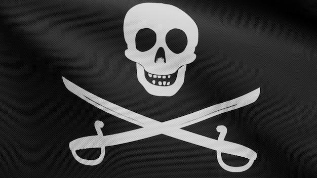 3d, 바람에 물결 치는 기병대 깃발 해 적 두개골의 패브릭 질감. 해커와 강도 개념에 대한 옥양목 잭 해적 기호. 물결 모양의 표면에 검은 해적의 현실적인 국기