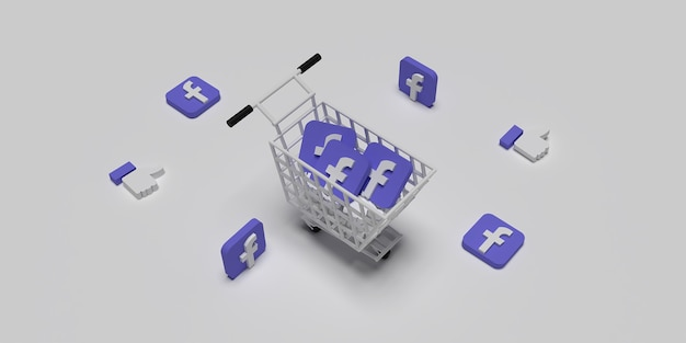 3d facebook logo on cart like concept for creative marketing concept with white surface rendered