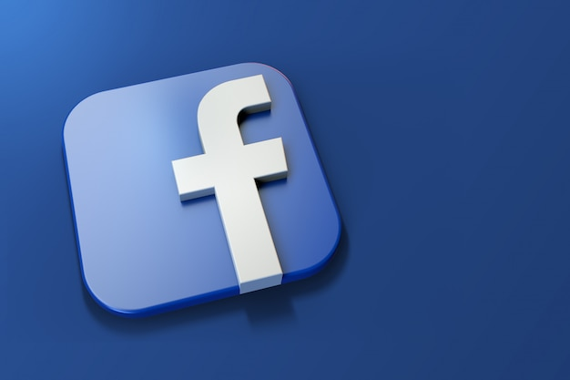 3d facebook logo minimalist with blank space