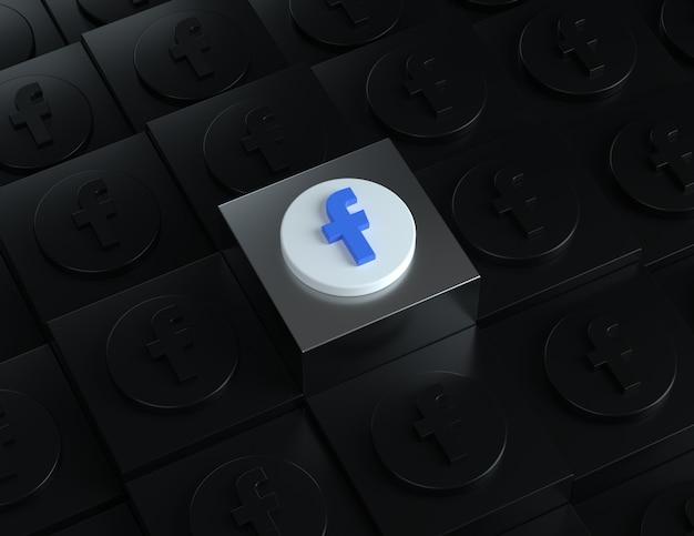 배경에 어두운 로고가 있는 은색 스탠드의 3d facebook 로고