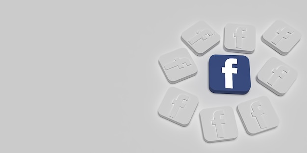 3d facebook marketing branding concept with white