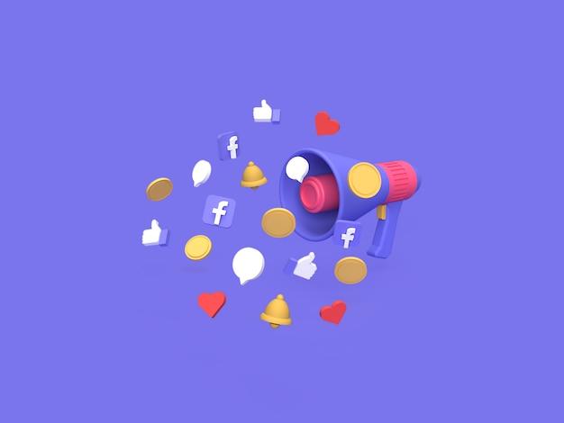 3d facebook marketing campaign budget cost concept with blue background rendered