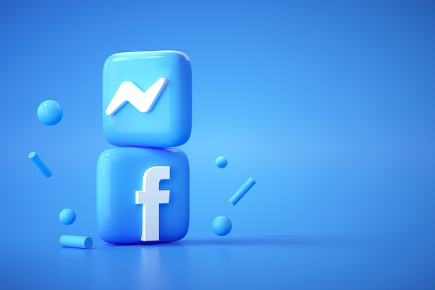 3d facebook and messenger logo application on blue background, social media communication.