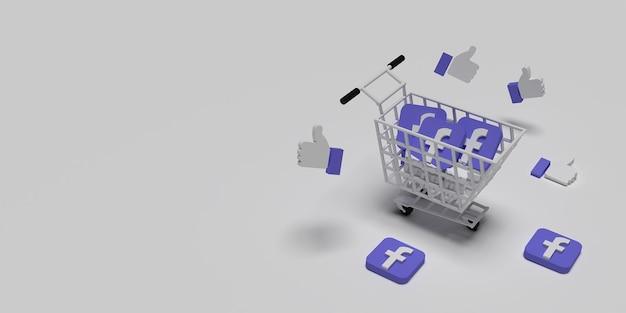 3d символ facebook на тележке и летающая концепция для творческой маркетинговой концепции с белой поверхностью.
