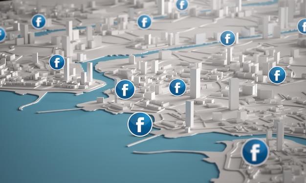 都市の建物の3dレンダリングの航空写真上のfacebookアイコン