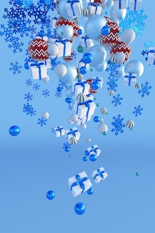 3d falling christmas snowflakes gift boxes balls on winter blue background new year poster design