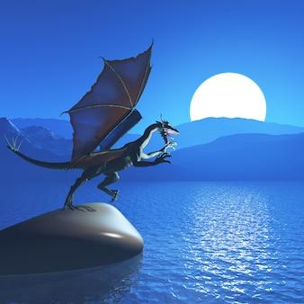 3D fantasy dragon against mountain landscape