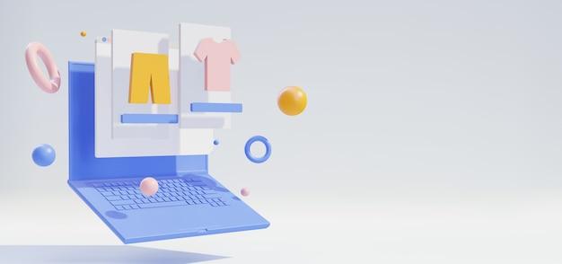 3d модный интернет-магазин с ноутбуком и веб-экраном