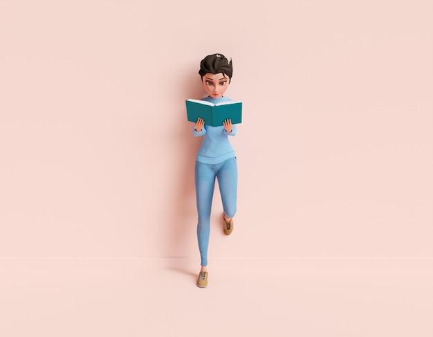 3d женский персонаж читает книгу