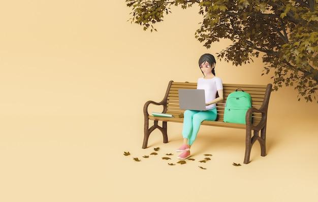 3d женский персонаж с ноутбуком на скамейке в парке