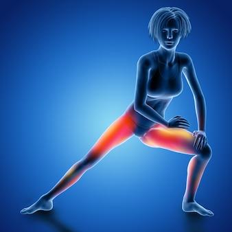 Figura femminile 3d nella posa di allungamento della coscia con i muscoli utilizzati evidenziati