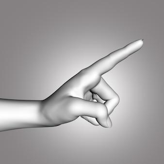 Mano femminile 3d con dito puntato