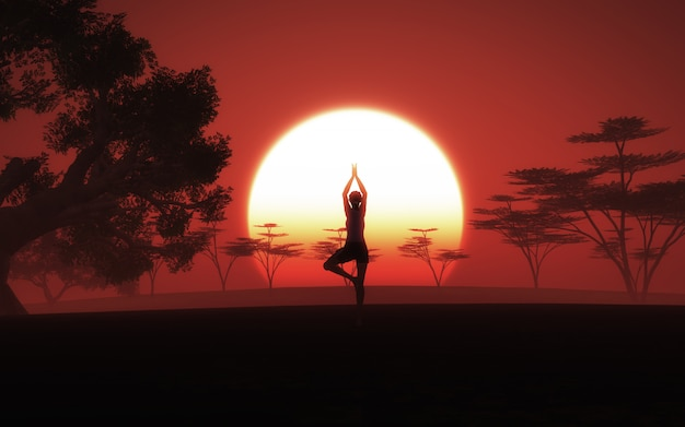 Женщина 3d в представлении йоги в африканский ландшафт с небом захода солнца