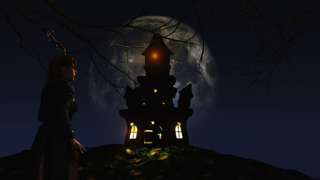 3d female looking at a spooky castle against a moonlit sky