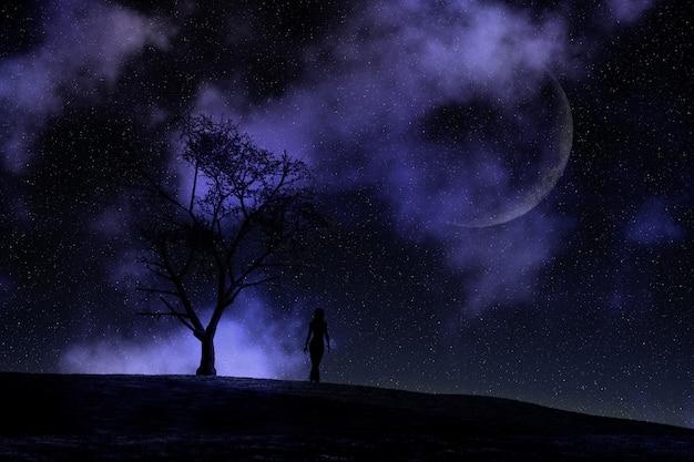 3d женщина, идущая против лунного ночного неба