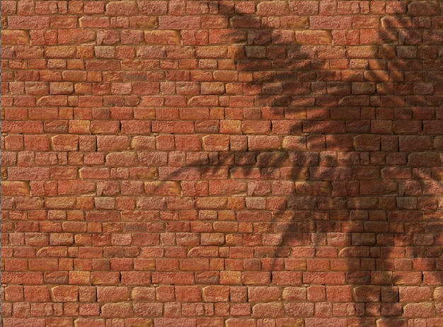 3d fern shadow on old brick background