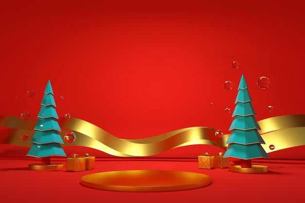 크리스마스 트리와 새해 장식이 있는 3d 축제 삽화는 빨간색으로 분리된 배경에 있습니다. 빨간색 배경에 골드 리본이 달린 그린 트리 크리스마스 트리. 크리스마스 카드, 3d 그래픽
