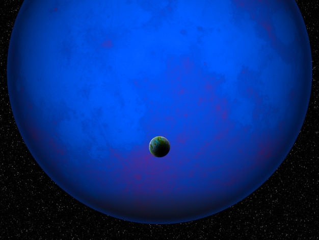 3d fictional space scene with earth like planet against glowing blue planet