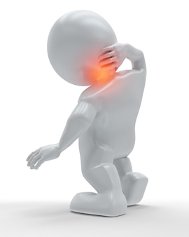 3d figure holding his neck in pain