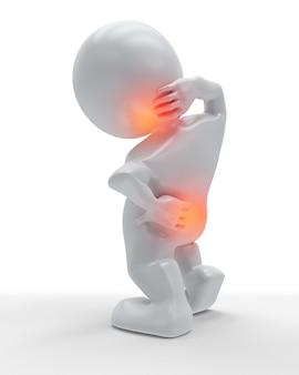 首と背中が痛みで強調表示された3d図