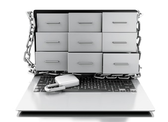 3d File cabinets in laptop with open padlock.