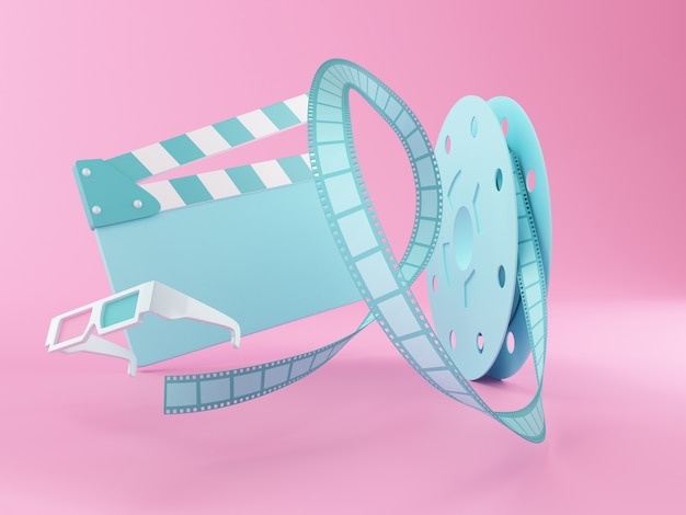 3d film reel ,3d glasses and movie clapper board.