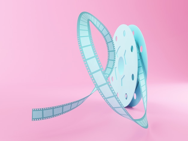 3d film reel cartoon style.